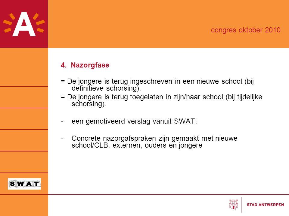 congres oktober 2010 4. Nazorgfase. = De jongere is terug ingeschreven in een nieuwe school (bij definitieve schorsing).