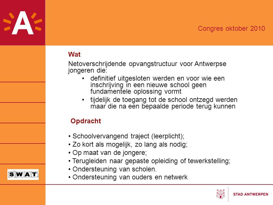 Congres oktober 2010 Wat. Netoverschrijdende opvangstructuur voor Antwerpse jongeren die: