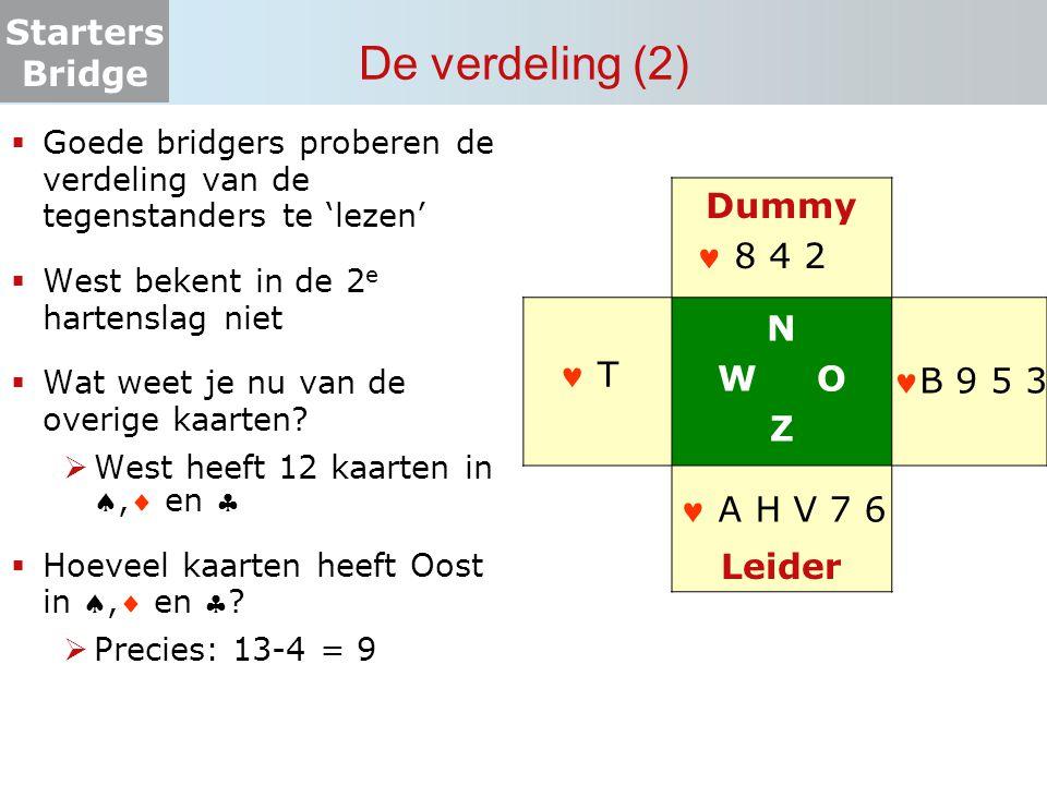 De verdeling (2) Dummy N W O Z  8 4 2 Leider  T B 9 5 3  A H V 7 6