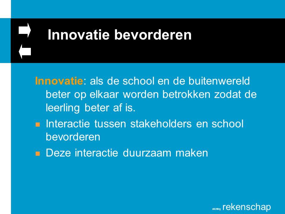 Innovatie bevorderen Innovatie: als de school en de buitenwereld beter op elkaar worden betrokken zodat de leerling beter af is.