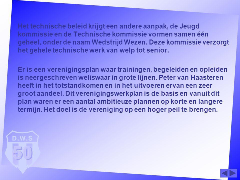 Het technische beleid krijgt een andere aanpak, de Jeugd kommissie en de Technische kommissie vormen samen één geheel, onder de naam Wedstrijd Wezen. Deze kommissie verzorgt het gehele technische werk van welp tot senior.