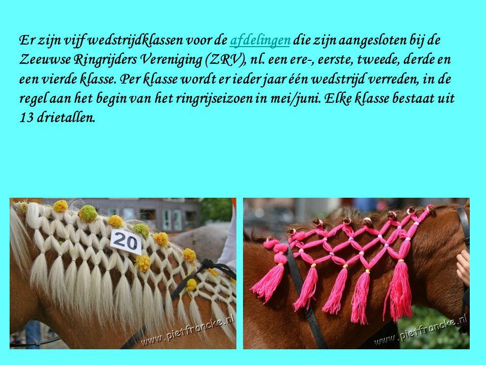 Er zijn vijf wedstrijdklassen voor de afdelingen die zijn aangesloten bij de Zeeuwse Ringrijders Vereniging (ZRV), nl.