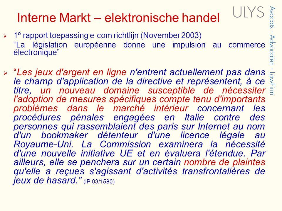 Interne Markt – elektronische handel