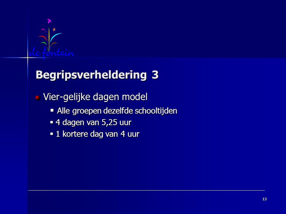 Begripsverheldering 3 Vier-gelijke dagen model