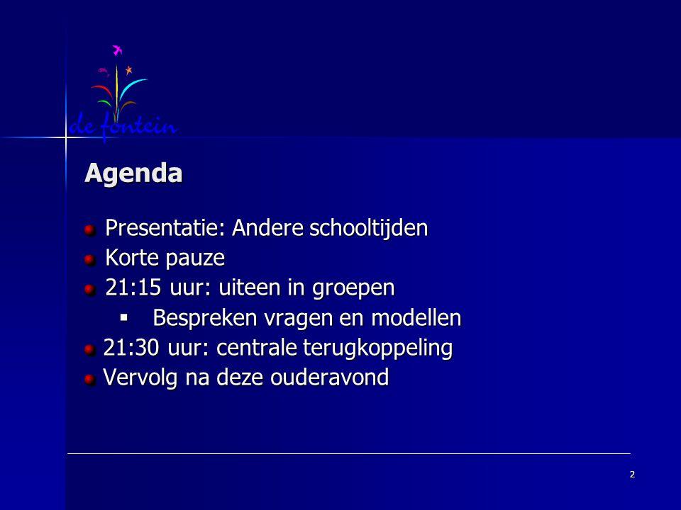 Agenda Presentatie: Andere schooltijden Korte pauze