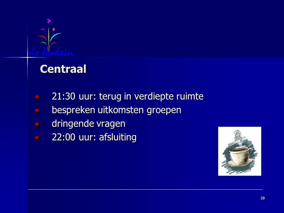 Centraal 21:30 uur: terug in verdiepte ruimte