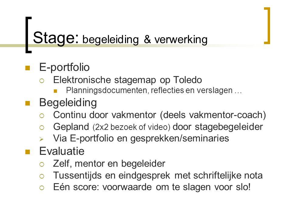 Stage: begeleiding & verwerking