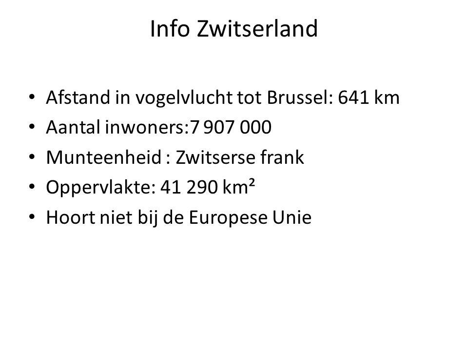 Info Zwitserland Afstand in vogelvlucht tot Brussel: 641 km