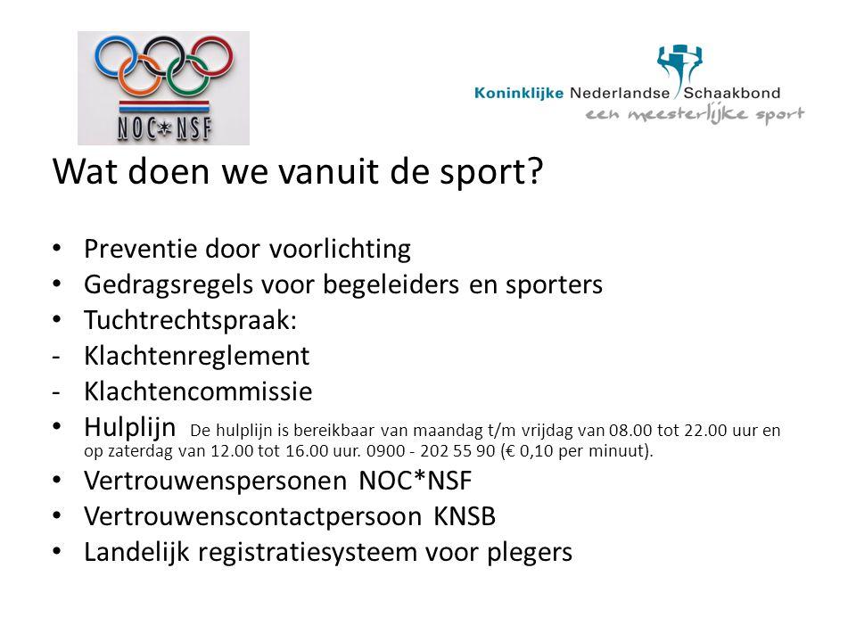 Wat doen we vanuit de sport