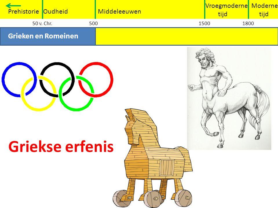 Griekse erfenis Grieken en Romeinen Vroegmoderne tijd Moderne tijd