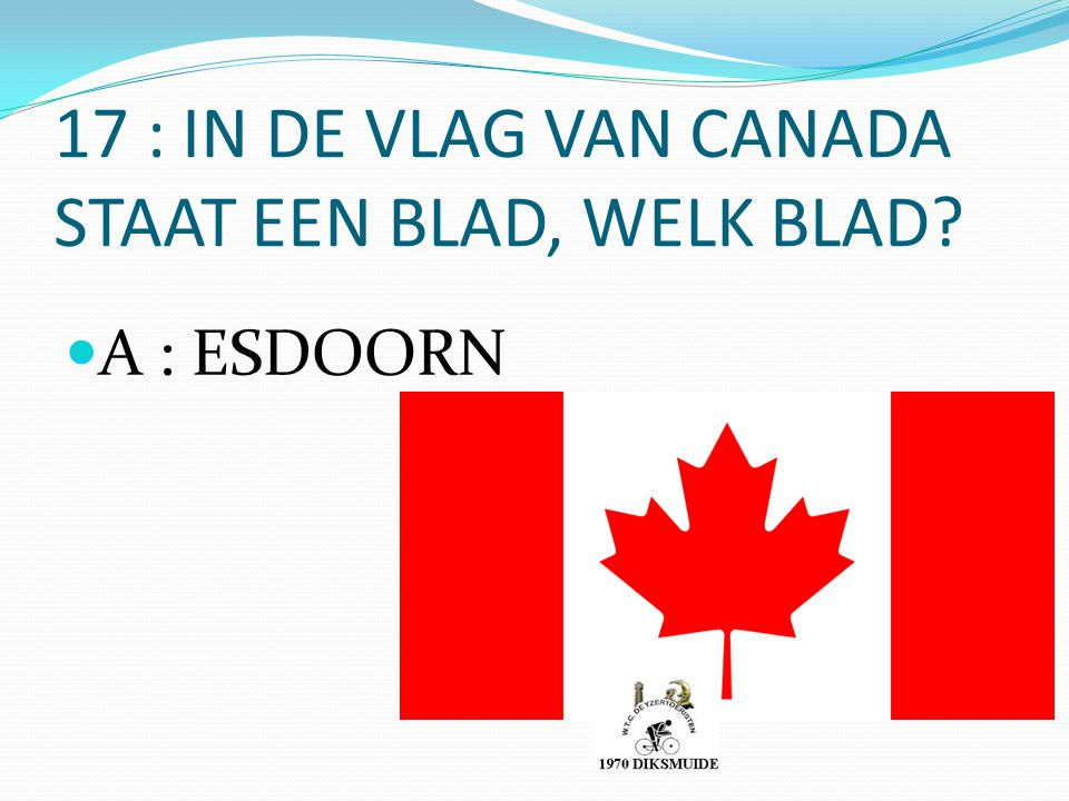 17 : IN DE VLAG VAN CANADA STAAT EEN BLAD, WELK BLAD