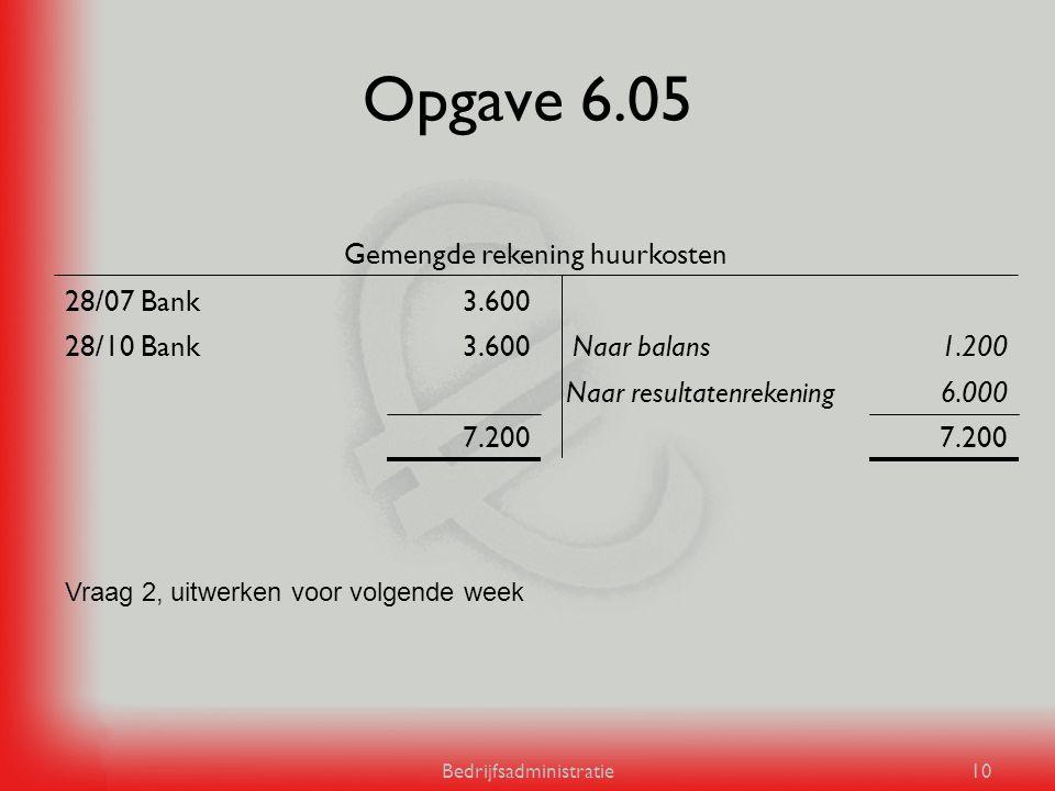 Opgave 6.05 Gemengde rekening huurkosten 28/07 Bank 3.600 28/10 Bank