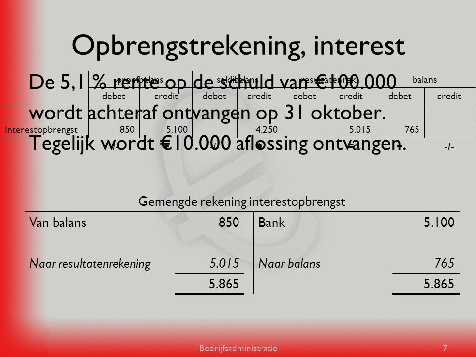 Opbrengstrekening, interest