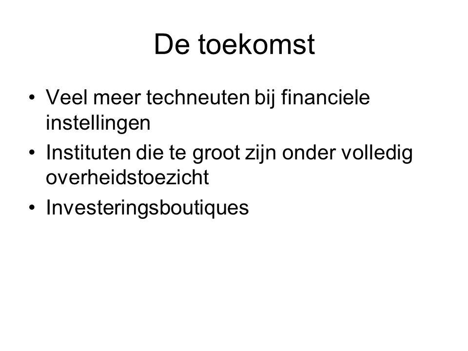 De toekomst Veel meer techneuten bij financiele instellingen