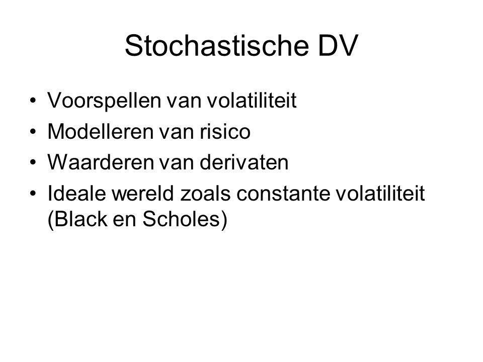 Stochastische DV Voorspellen van volatiliteit Modelleren van risico