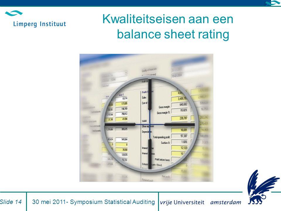 Kwaliteitseisen aan een balance sheet rating