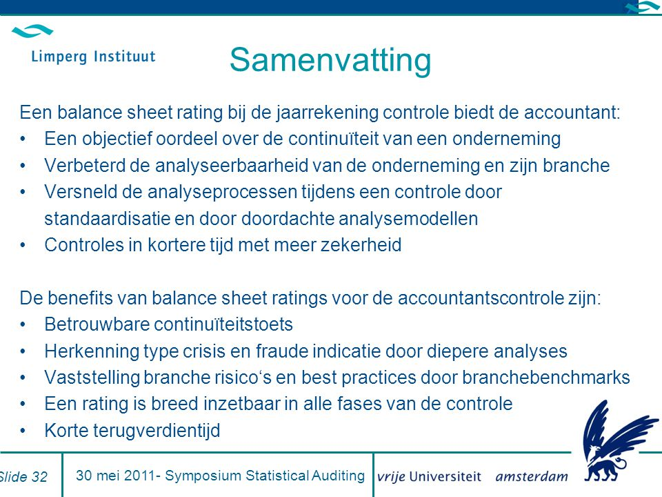 30 mei 2011- Symposium Statistical Auditing