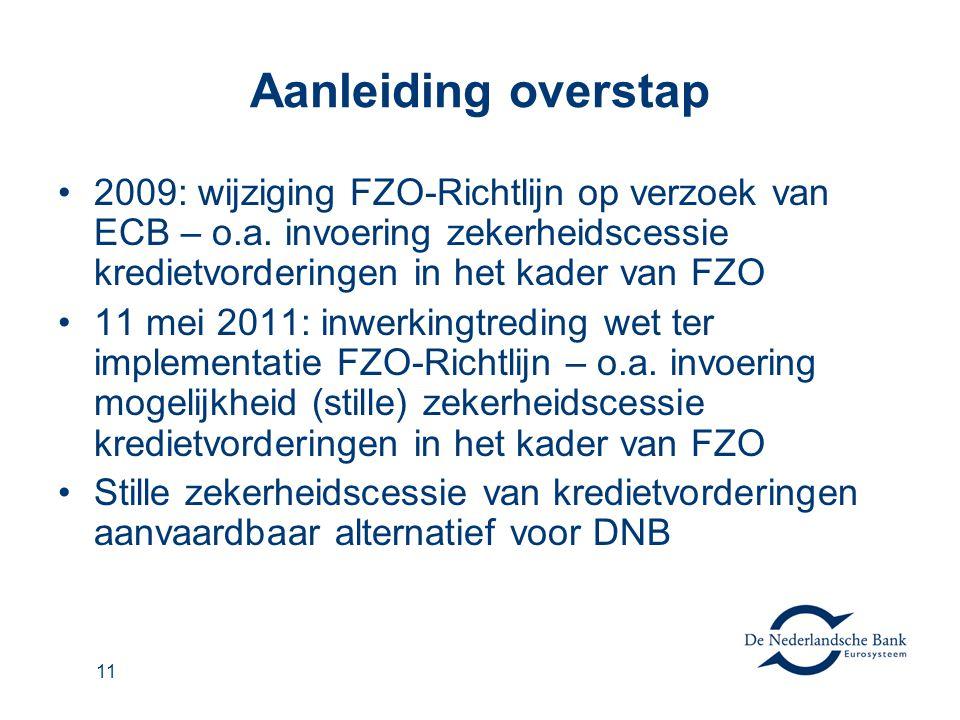 Aanleiding overstap 2009: wijziging FZO-Richtlijn op verzoek van ECB – o.a. invoering zekerheidscessie kredietvorderingen in het kader van FZO.