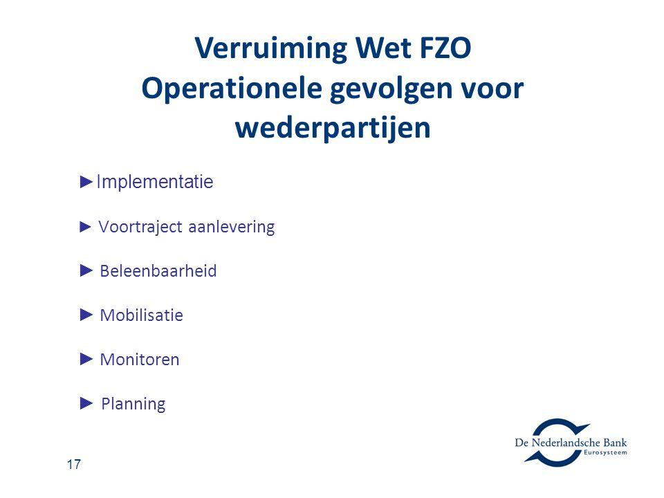 Verruiming Wet FZO Operationele gevolgen voor wederpartijen