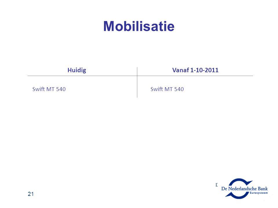 Mobilisatie Huidig Vanaf 1-10-2011 Swift MT 540 Swift MT 540