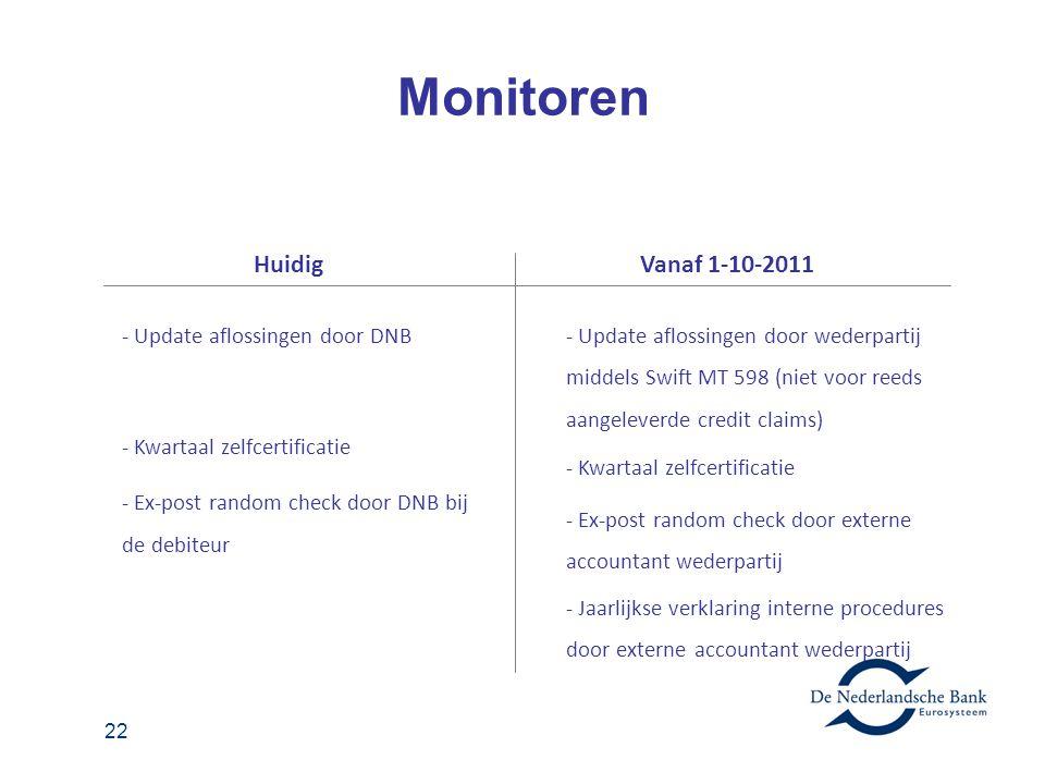 Monitoren Huidig Vanaf 1-10-2011 - Update aflossingen door DNB