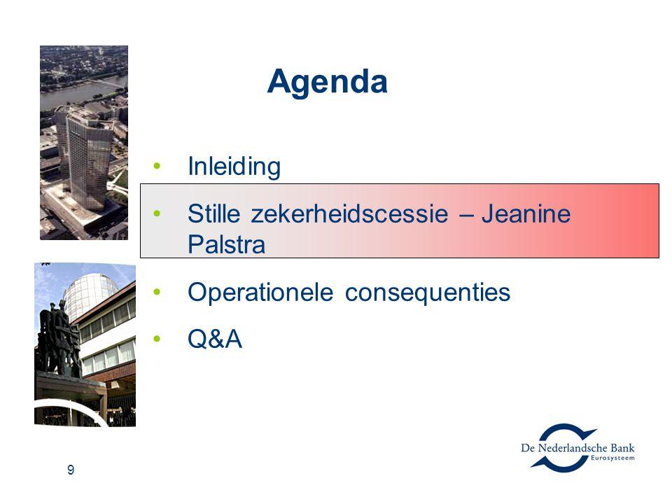 Agenda Inleiding Stille zekerheidscessie – Jeanine Palstra