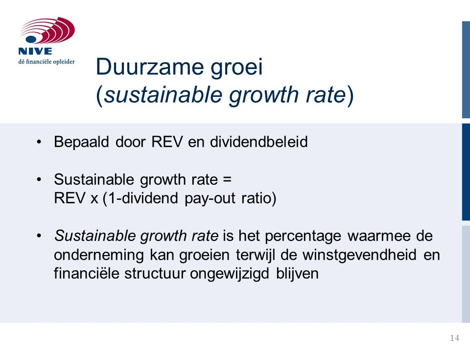 Duurzame groei (sustainable growth rate)