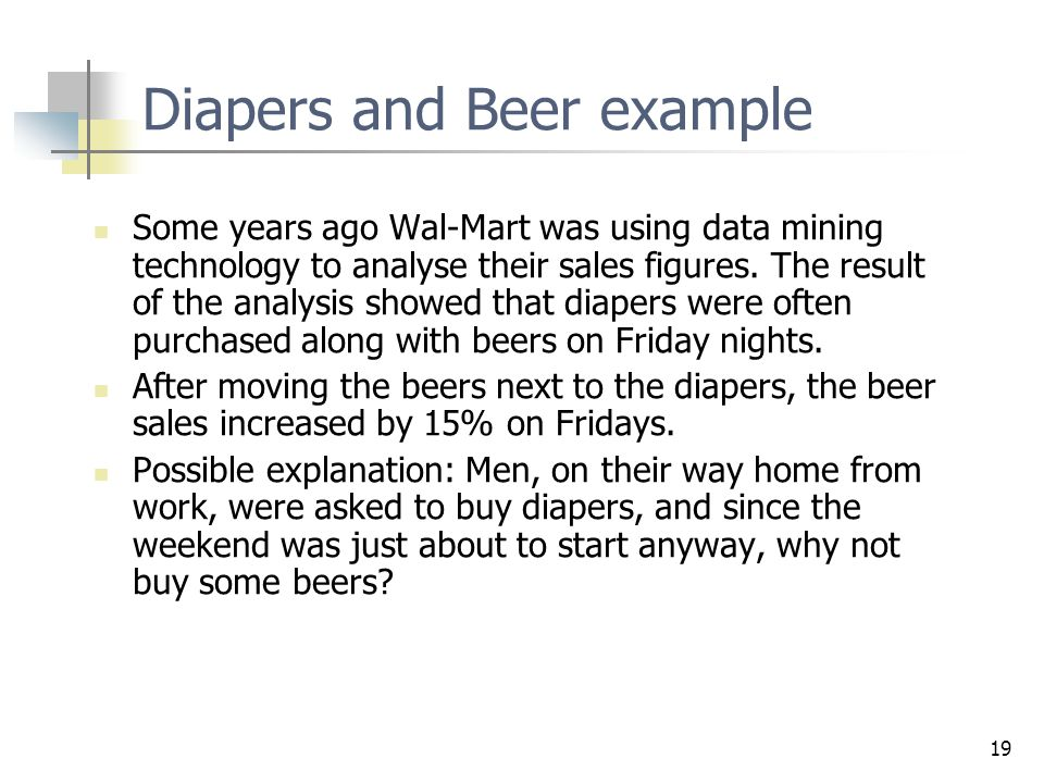 Diapers and Beer example