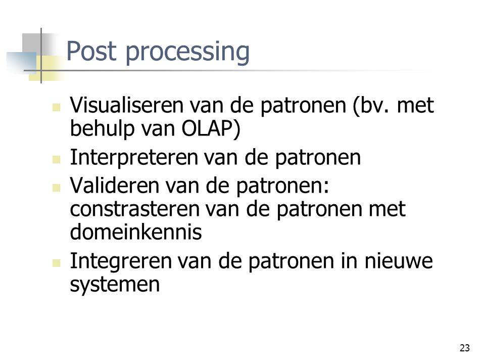 Post processing Visualiseren van de patronen (bv. met behulp van OLAP)