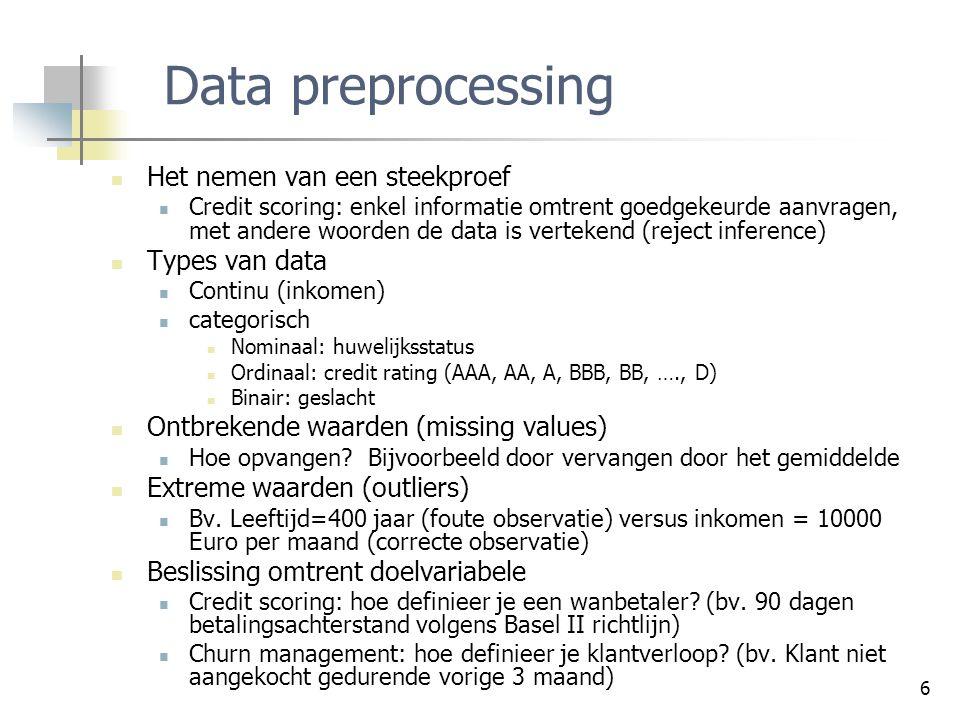 Data preprocessing Het nemen van een steekproef Types van data