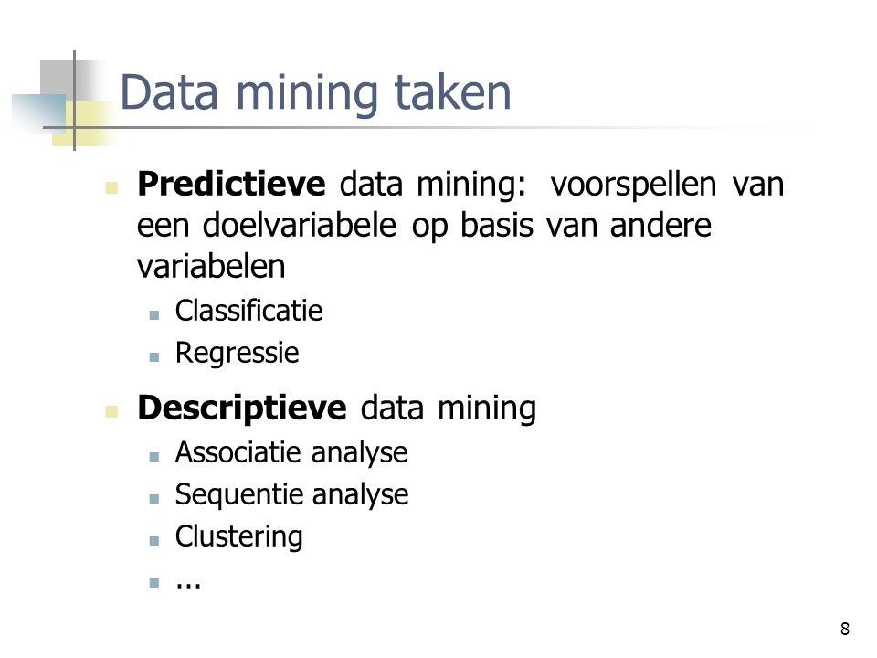 Data mining taken Predictieve data mining: voorspellen van een doelvariabele op basis van andere variabelen.