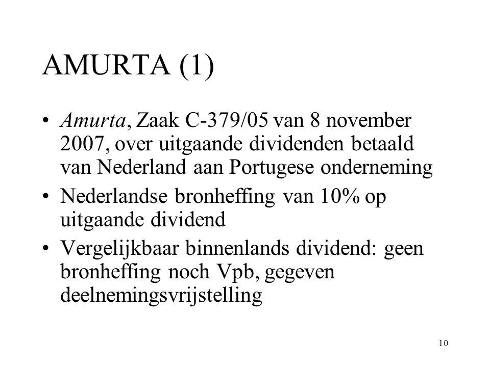 AMURTA (1) Amurta, Zaak C-379/05 van 8 november 2007, over uitgaande dividenden betaald van Nederland aan Portugese onderneming.