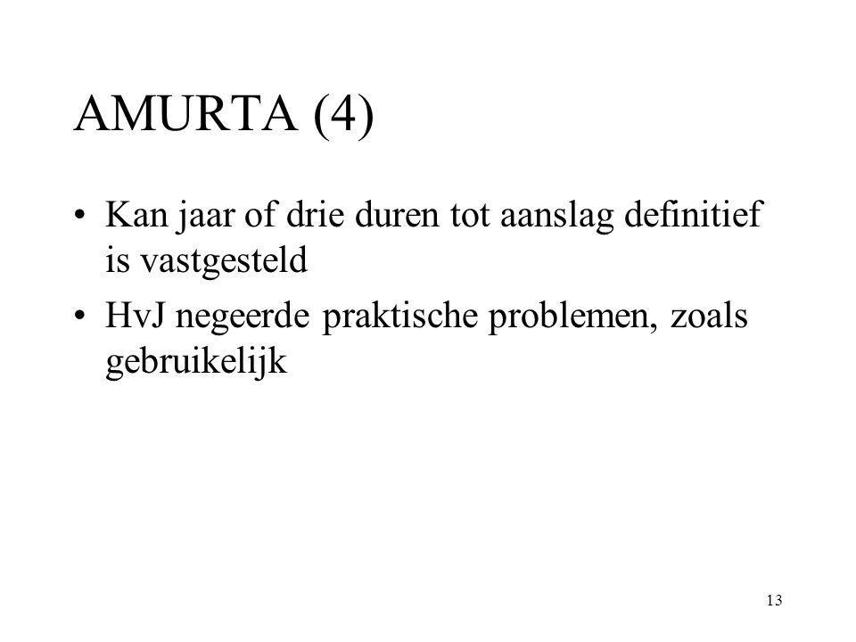 AMURTA (4) Kan jaar of drie duren tot aanslag definitief is vastgesteld.