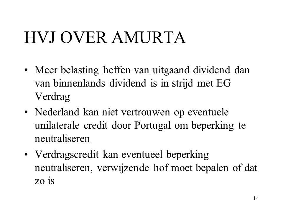 HVJ OVER AMURTA Meer belasting heffen van uitgaand dividend dan van binnenlands dividend is in strijd met EG Verdrag.