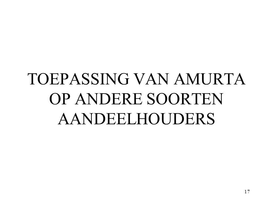 TOEPASSING VAN AMURTA OP ANDERE SOORTEN AANDEELHOUDERS