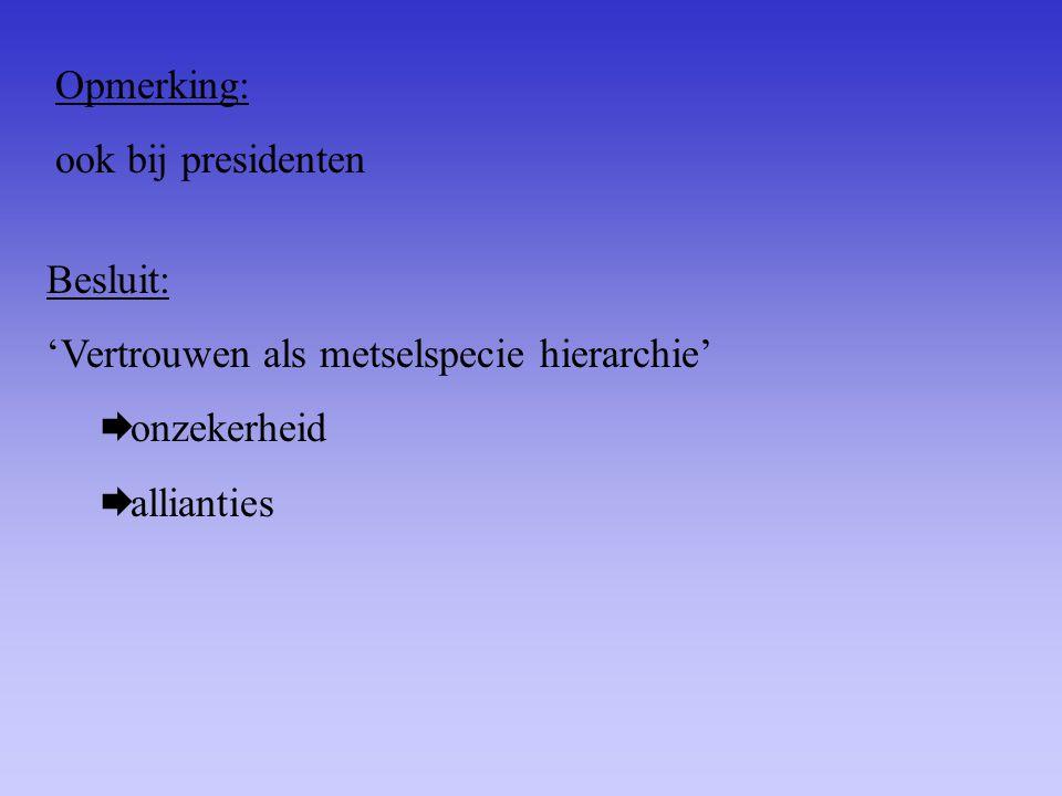 Opmerking: ook bij presidenten. Besluit: 'Vertrouwen als metselspecie hierarchie' onzekerheid.