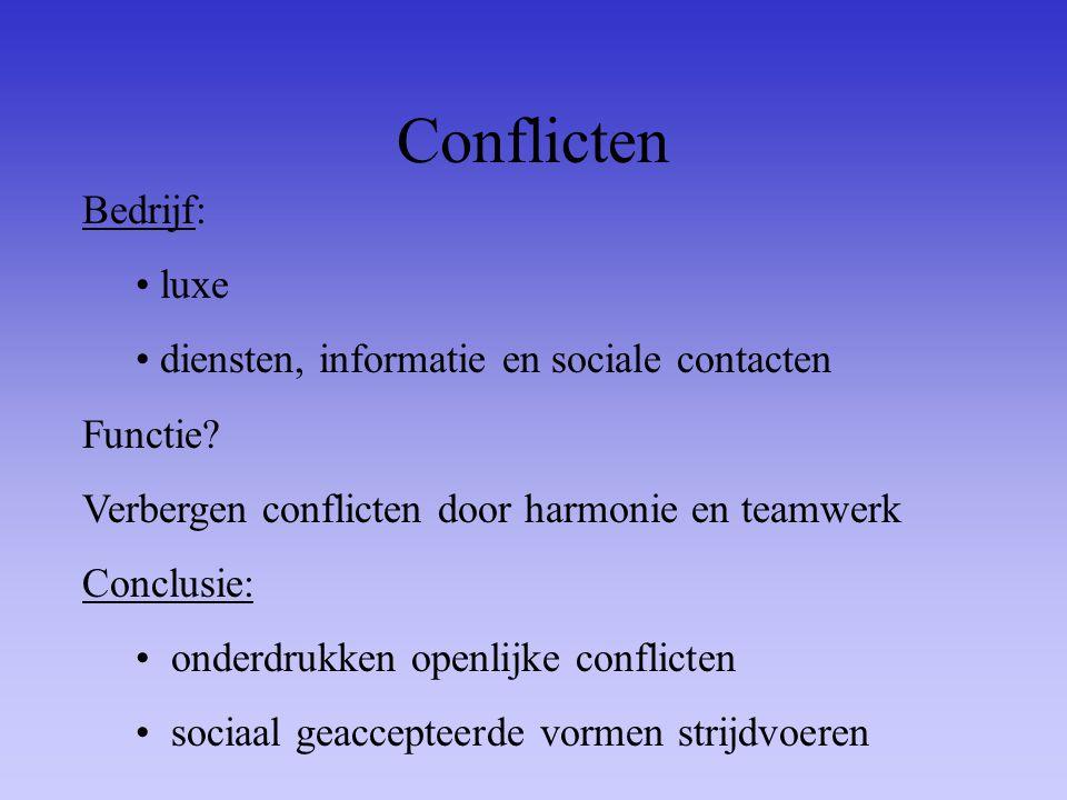 Conflicten Bedrijf: luxe diensten, informatie en sociale contacten