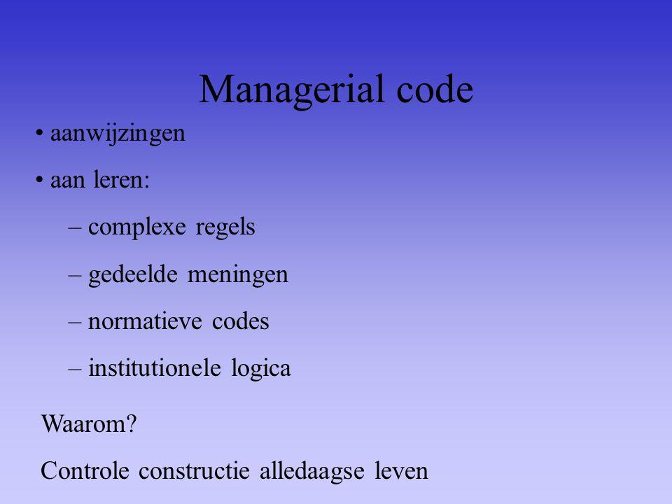Managerial code aanwijzingen aan leren: complexe regels