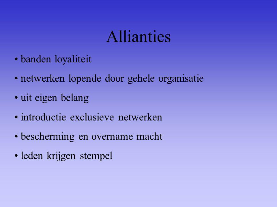 Allianties banden loyaliteit netwerken lopende door gehele organisatie