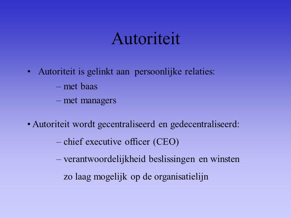 Autoriteit Autoriteit is gelinkt aan persoonlijke relaties: met baas