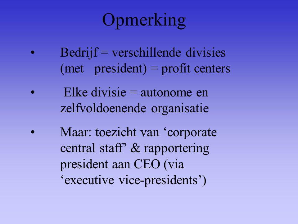 Opmerking Bedrijf = verschillende divisies (met president) = profit centers. Elke divisie = autonome en zelfvoldoenende organisatie.