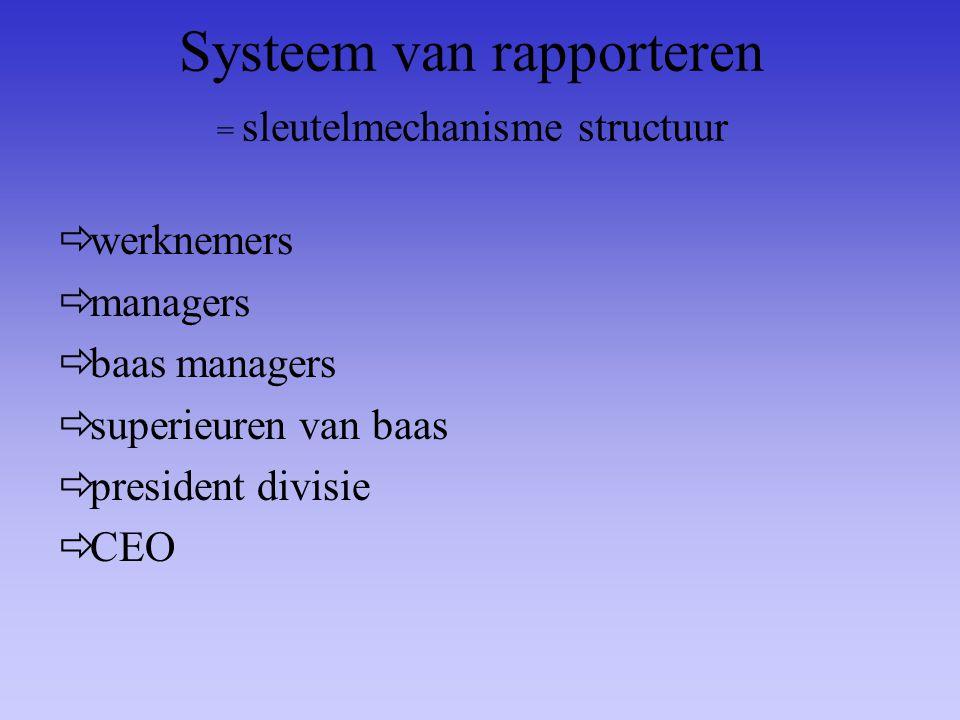 Systeem van rapporteren = sleutelmechanisme structuur