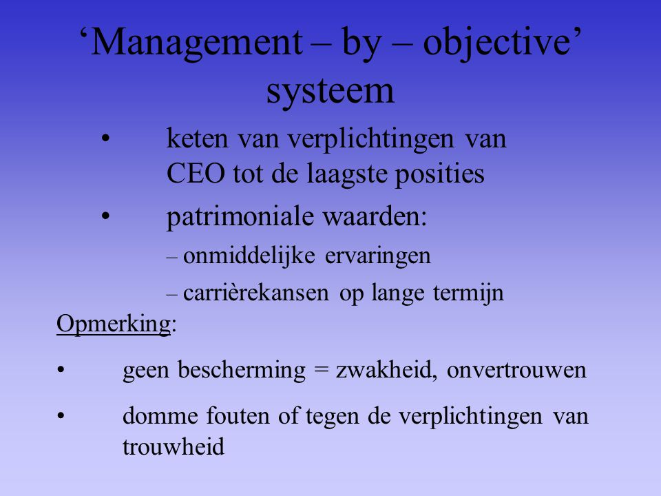 'Management – by – objective' systeem
