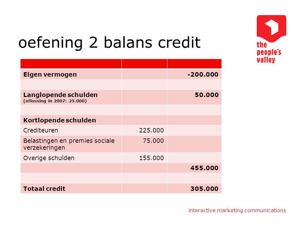 oefening 2 balans credit