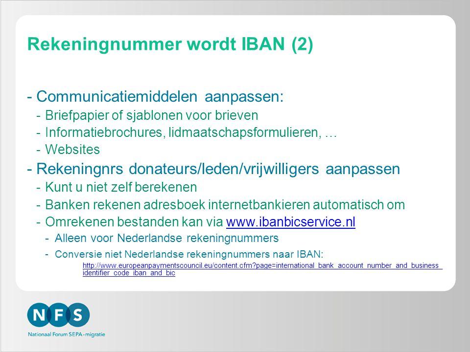 Rekeningnummer wordt IBAN (2)