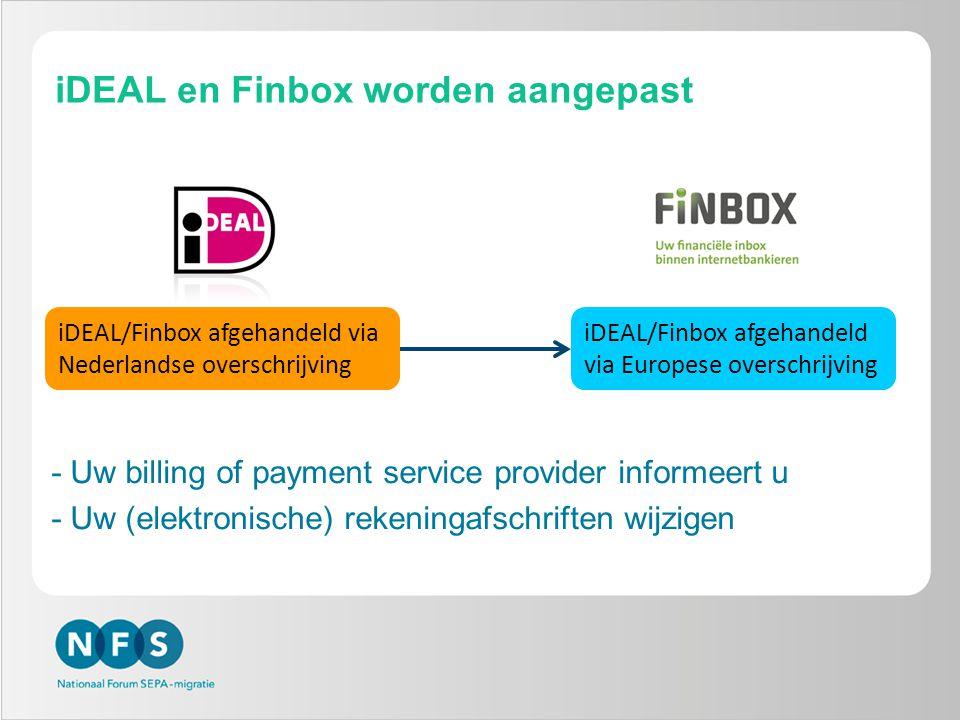 iDEAL en Finbox worden aangepast
