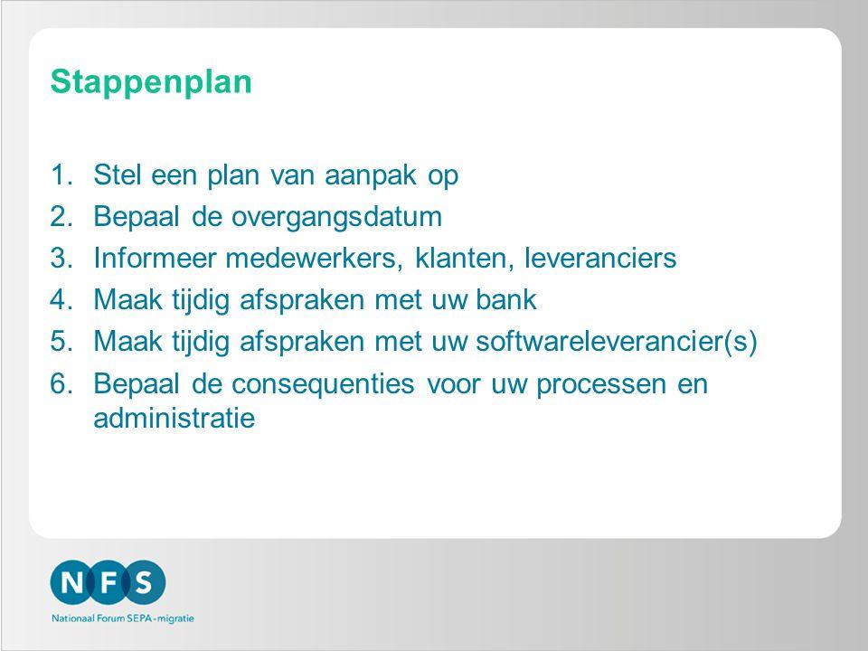 Stappenplan Stel een plan van aanpak op Bepaal de overgangsdatum