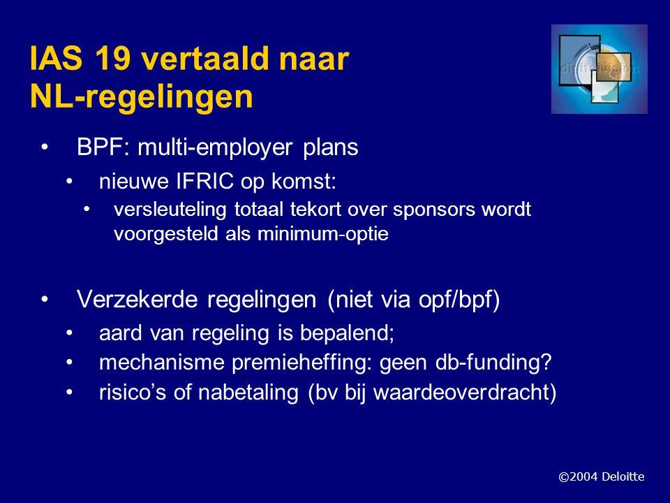 IAS 19 vertaald naar NL-regelingen