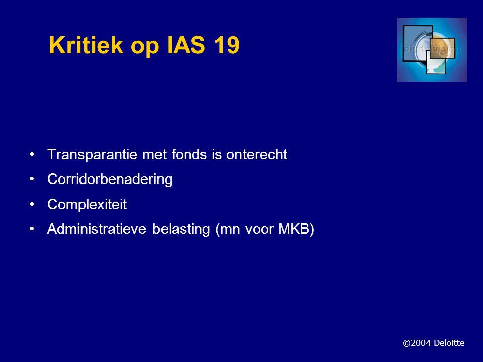 Kritiek op IAS 19 Transparantie met fonds is onterecht