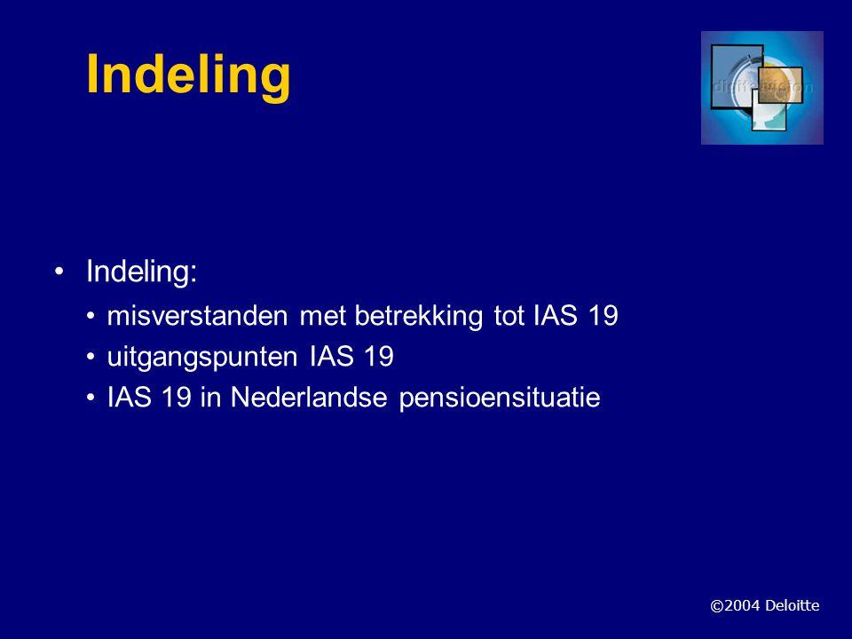 Indeling Indeling: misverstanden met betrekking tot IAS 19